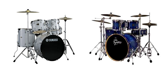 Learning to play drums is easier with two drum kits in the classroom - one for the student and one for the teacher